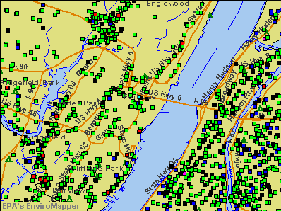 Fort Lee, New Jersey environmental map by EPA