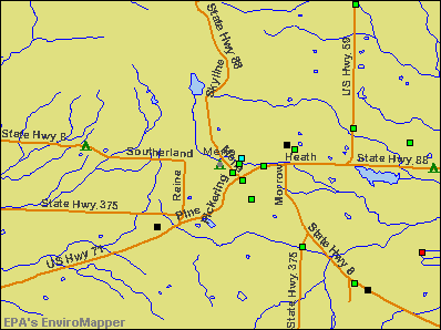 Mena, Arkansas environmental map by EPA