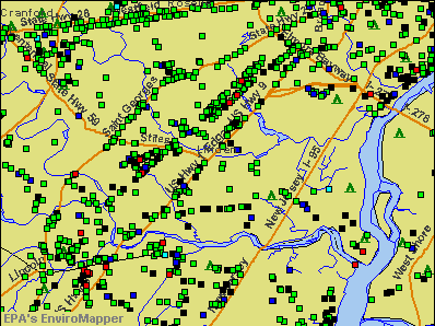 Linden, New Jersey environmental map by EPA