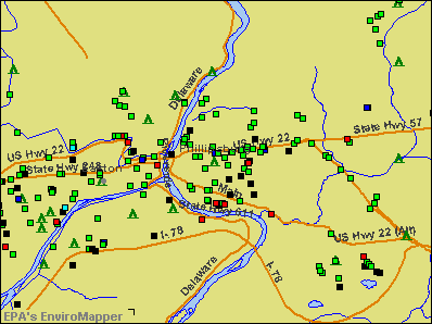 Phillipsburg, New Jersey environmental map by EPA