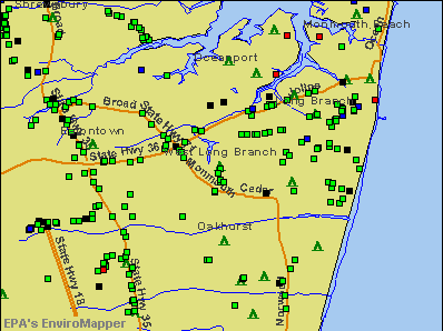West Long Branch, New Jersey environmental map by EPA