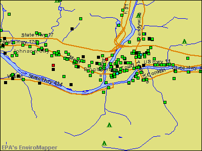 Binghamton, New York environmental map by EPA
