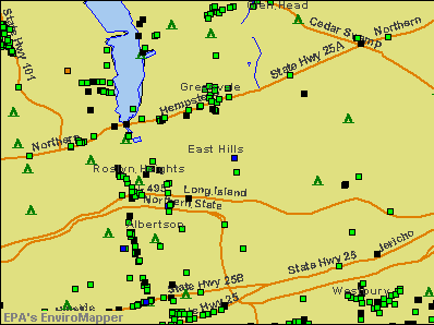 East Hills, New York environmental map by EPA
