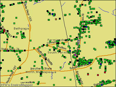 Farmingdale, New York environmental map by EPA