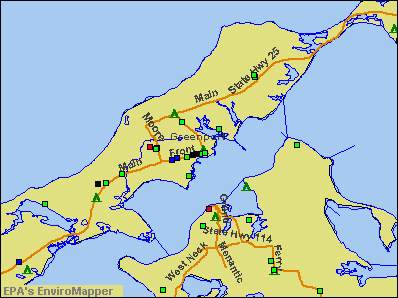 Greenport, New York environmental map by EPA