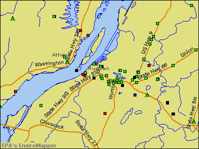 Hudson, New York environmental map by EPA
