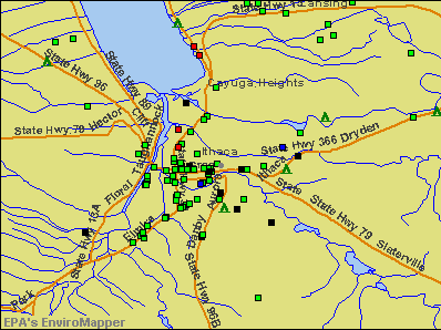 Ithaca, New York environmental map by EPA