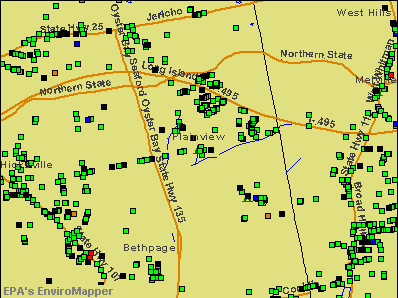 Plainview, New York environmental map by EPA