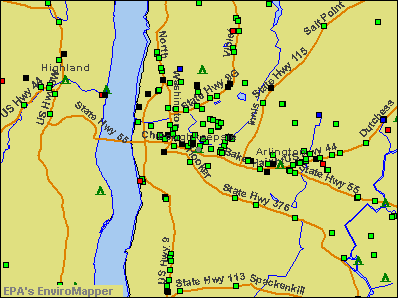 Poughkeepsie, New York environmental map by EPA