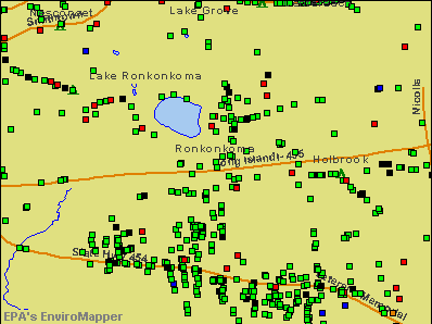 Ronkonkoma, New York environmental map by EPA