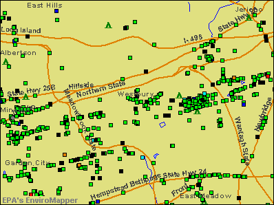 Westbury, New York environmental map by EPA