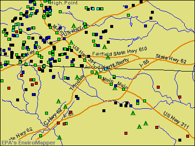 Archdale, North Carolina environmental map by EPA