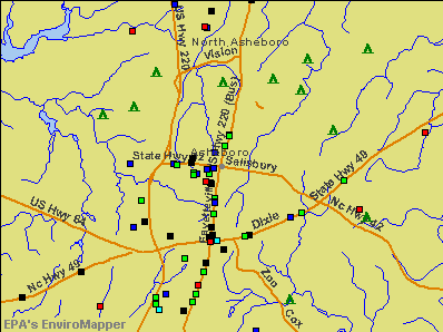 Asheboro, North Carolina environmental map by EPA