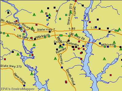 Belmont, North Carolina environmental map by EPA