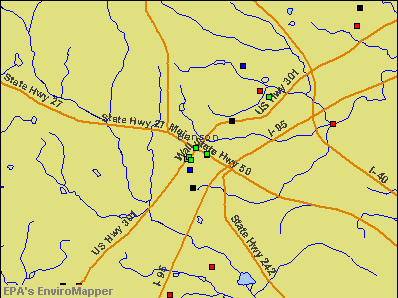 Benson, North Carolina environmental map by EPA