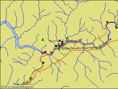 Bryson City, North Carolina environmental map by EPA