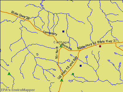 Carthage, North Carolina environmental map by EPA