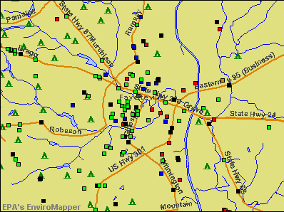 Fayetteville, North Carolina environmental map by EPA