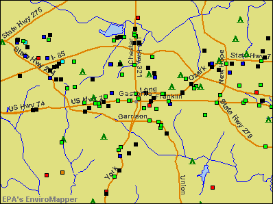 Gastonia, North Carolina environmental map by EPA