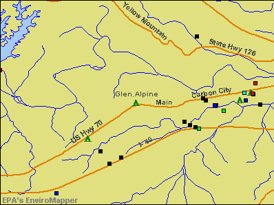 Glen Alpine, North Carolina environmental map by EPA