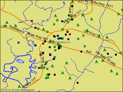 Goldsboro, North Carolina environmental map by EPA