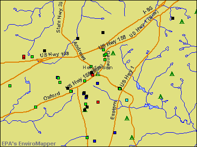 Henderson, North Carolina environmental map by EPA