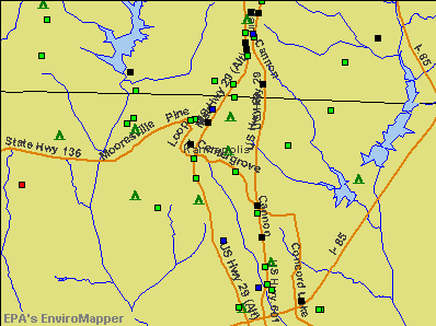 Kannapolis, North Carolina environmental map by EPA