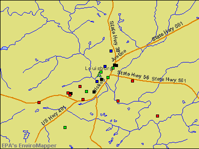 Louisburg, North Carolina environmental map by EPA