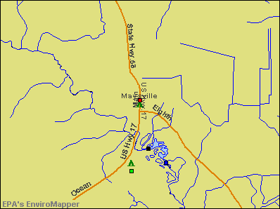 Maysville, North Carolina environmental map by EPA