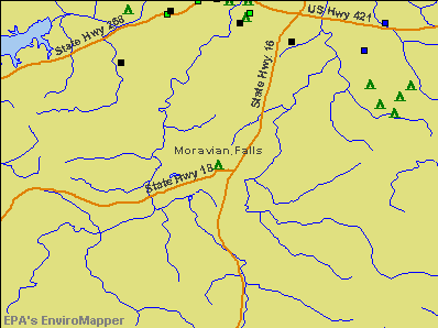 Moravian Falls, North Carolina environmental map by EPA