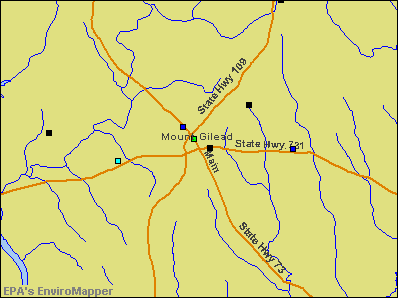 Mount Gilead, North Carolina environmental map by EPA