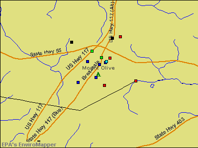 Mount Olive, North Carolina environmental map by EPA