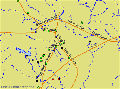 Oxford, North Carolina environmental map by EPA