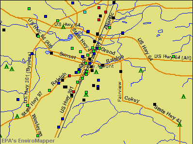 Rocky Mount, North Carolina environmental map by EPA
