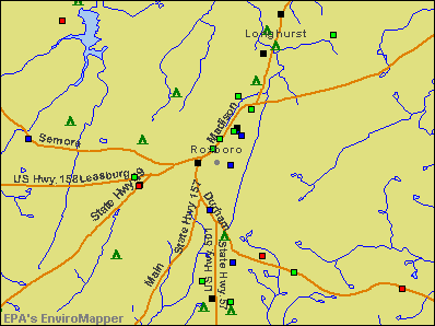 Roxboro, North Carolina environmental map by EPA