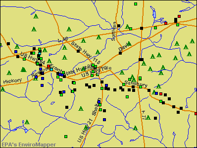 Statesville, North Carolina environmental map by EPA