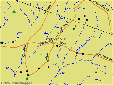 Wake Forest, North Carolina environmental map by EPA