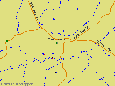 Yanceyville, North Carolina environmental map by EPA