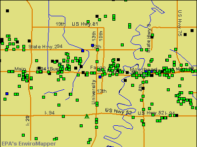 Fargo, North Dakota environmental map by EPA