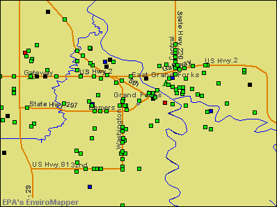 Grand Forks, North Dakota environmental map by EPA