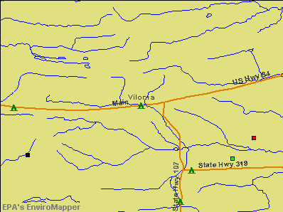 Vilonia, Arkansas environmental map by EPA