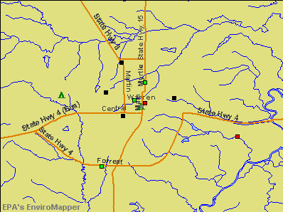 Warren, Arkansas environmental map by EPA
