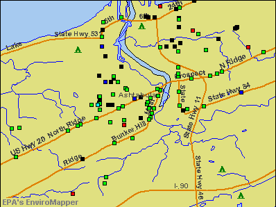 Ashtabula, Ohio environmental map by EPA