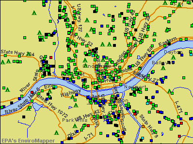 Cincinnati, Ohio environmental map by EPA