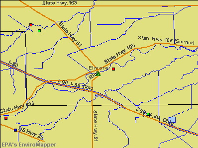 Elmore, Ohio environmental map by EPA