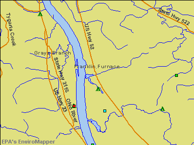 Franklin Furnace, Ohio environmental map by EPA