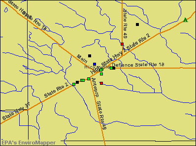 Hicksville, Ohio environmental map by EPA