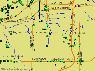 Highland Heights, Ohio environmental map by EPA