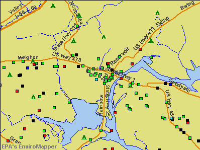 Gadsden, Alabama environmental map by EPA