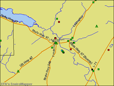 Lexington, Ohio environmental map by EPA